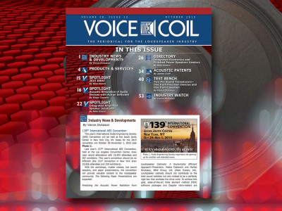 The October 2015 Issue of Voice Coil is Now Available