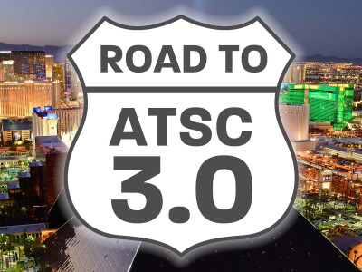 """Road to ATSC 3.0"" exhibit in the Grand Lobby of NAB 2018"