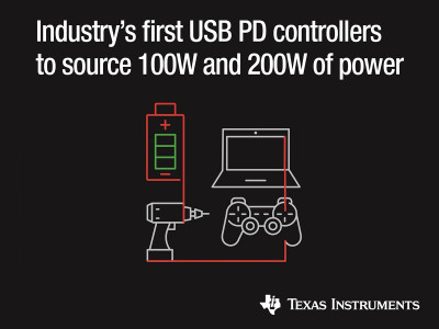 First 200-W and 100-W USB Type-C and USB Power Delivery Controllers Simplify Higher Power in Dual- and Single-Port Designs