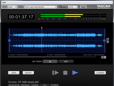 Tascam Releases Free Hi-Res Editor Software With Native Direct Stream Digital Support