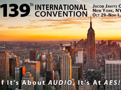 Plan Now for the Upcoming AES 139th International Convention in New York City