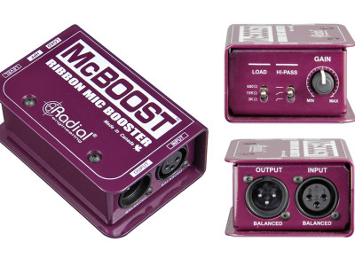 Radial Now Shipping McBoost 100% Discrete Class-A Dual FET Signal Booster for Low Output Dynamic and Ribbon Microphones