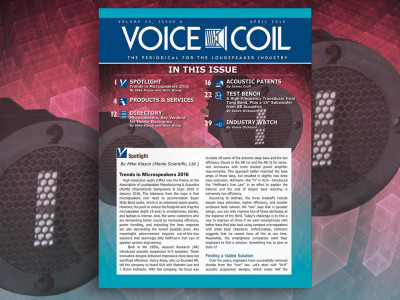 Microspeakers, New Patents, and Much More in Voice Coil April 2016