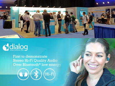 Dialog Semiconductor Demonstrates Bluetooth Low Energy True Wireless Stereo Solution at Bluetooth World 2018