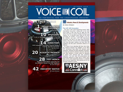 Voice Coil October 2018 Is Here and Ready for the 145th AES NY Convention!
