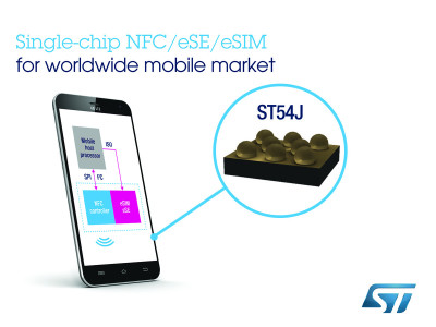 STMicroelectronics Combines NFC Controller, Secure Element, and eSIM in a Single-Chip