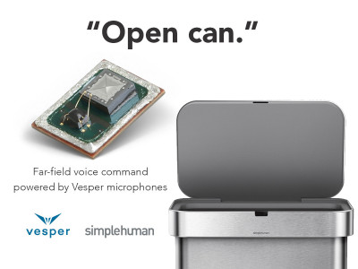Vesper Microphones Powers Innovative Line of Voice-Activated Trash Cans