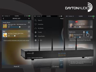 Dayton Audio WFA400 4-Zone Wi-Fi Audio Receiver and Streamer Gains Mobile App Integration
