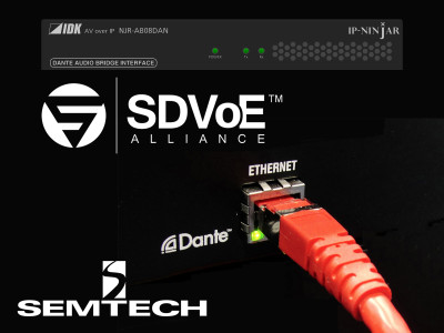 Semtech's BlueRiver Links IP-NINJAR Dante Audio Bridge with SDVoE Ecosystem