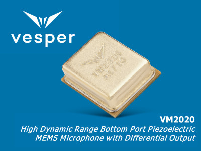 Vesper Launches Ultra-High Acoustic Overload Point VM2020 Microphone for Smart Speakers