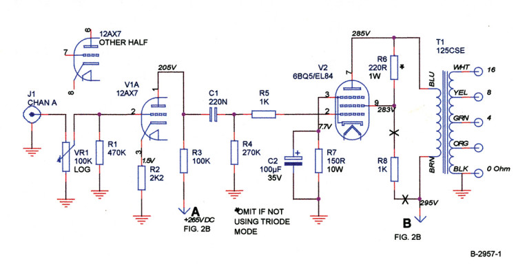 tube power supply diagram  figure 1a: amplifier circuit