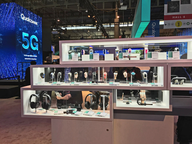 1864096e09c Audio products using multiple technologies from Qualcomm on display at the  company's booth at MWC 2019 in Barcelona.