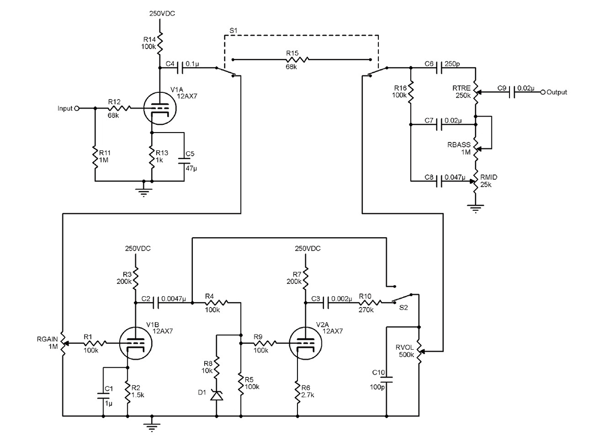 250vdc Wiring Diagram Data Schematic 3 Way Switch Diagrams For Residential A Three Channel Tube Based Guitar Preamplifier Audioxpress Rh Com Hvac