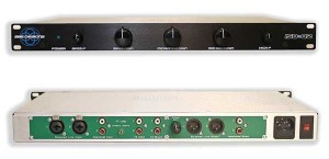 The Iso-Q2 is a solid-state three-band isolator/three-band program equalizer with five usable front panel controls (top). The Iso-Q2 can be used in an effects loop insert, mixbus, or main output of any console (bottom).
