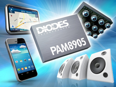 Diodes new Tiny Audio Class-D Amp Produces 1.9 W from 5V