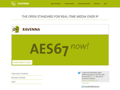 New Website Dedicated to Ravenna and AES67 Audio-over-IP Technology