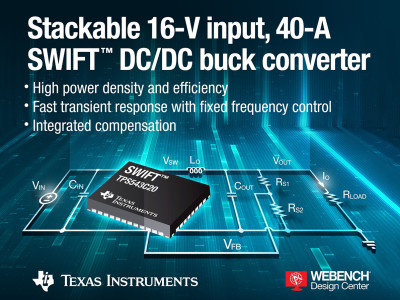 Texas Instruments Introduces Unique SWIFT DC/DC Converter with Integrated Switching Frequency Compensation