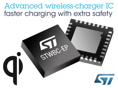 Advanced Wireless-Charging Chip from STMicroelectronics Enables Faster Charging of Smartphones and Tablets