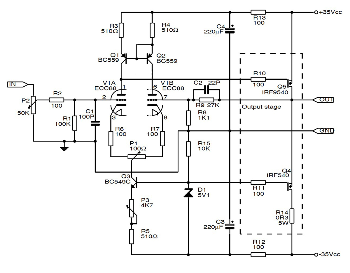 Class H Amplifier Circuit Diagram Reveolution Of Wiring Mosfet Audio Build A Hybrid Tube Se Amp Audioxpress Mos Fet Schematic