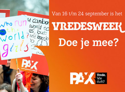 PAX organiseert van 16 tot en met 24 september 2017 de nationale Vredesweek.