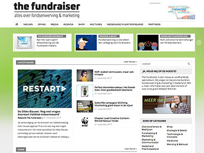 Een nagelnieuw vakmedium voor fondsenwervers: jaarboek, jaarcongres, kwartaalmagazine, Weekly en Daily.