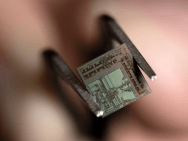 "The ""end-to-end transmitter-receiver"" chip boasts a unique architecture combining digital and analog components on a single platform (Photo: Steve Zylius / UCI)."