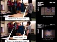 Interaction humain-robot. En haut : le robot est prévenu lorsqu'il s'apprête à mettre l'objet 2 à la poubelle. En bas : après avoir assimilé les autorisations de propriété et d'action grâce à une interaction, le robot refuse de mettre l'objet à la poubelle lorsque cette action lui est demandée par quelqu'un d'autre que le propriétaire. Image : Tan, Brawer & Scassellati / Université Yale.