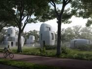 Een impressie van de vijf woningen die gerealiseerd gaan worden (afbeelding: Houben/Van Mierlo architecten).