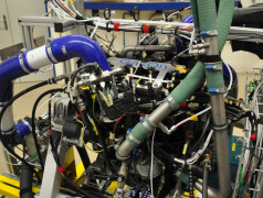 A 4-cylinder 2 Liter CNG motor on the test stand at the Empa. Image: Empa.