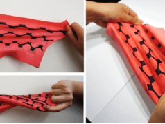 Stretchable battery made entirely out of fabric. Image: Seokheun Choi