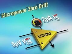 Zero-drift opamp draws 1.3 μA at 1.8 V. Illustration: Analog Devices
