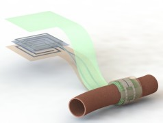 Wireless and battery-free biodegradable blood flow sensor