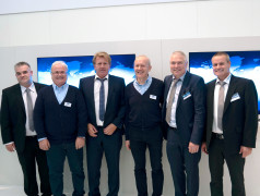 Bernd Hantsche, Director Product Marketing Embedded & Wireless (Rutronik), Wolfgang Kemmler, Industrial Sales Manager (Wilk Elektronik), Thomas Rudel, CEO (Rutronik), Wieslaw Wilk, Founder and Owner (Wilk Elektronik), Andreas Hofmann, Senior Manager Product Marketing (Rutronik),Frank Bittigkoffer, Deputy Director Product Marketing Embedded & Wireless (Rutronik) (from left)