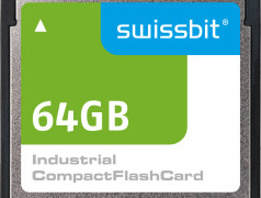 Obsolete in the consumer sector but very much in high demand for industrial applications and available through Swissbit with its C5x series: CompactFlash™ (Image: Swissbit)