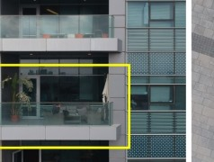 Links is de drone rood omkaderd. Midden: dit mag dus niet — door het venster van een kantoor filmen; rechts: dit mag wel — een selfie uit de lucht maken (foto: Adi Shamir et al.).