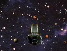 De Kepler-ruimtetelescoop van NASA (artists impression) heeft ontdekt dat er in onze Melkweg meer planeten dan sterren zijn (afbeelding: NASA).