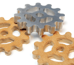 Click to enlarge | CNC Elektor-Labs - Cogwheels - plywood - aluminum