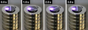 Light Controlled Levitating Magnets