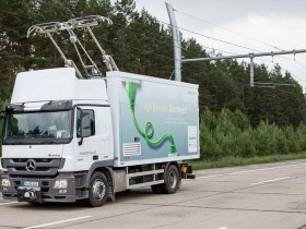 Electric truck on an Autobahn stretch near Berlin