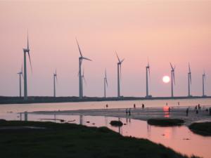 Wind turbines in Kaomei Wetland