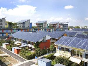 The Solar Settlement, a sustainable housing community project in Freiburg, Germany.