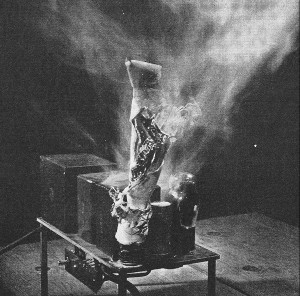 Exploding electolytic can capacitor (Radio News, 1947)