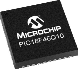 The PIC18F46Q10T-I/PT is an example of Microchip's popular PIC family of 8-bit MCUs.