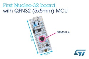 The slim-form-factor NUCLEO-L432KC board – the first Nucleo-32 board to integrate an MCU in the tiny QFN32 package - includes an STM32L432KCU6 device (UFQFPN32).