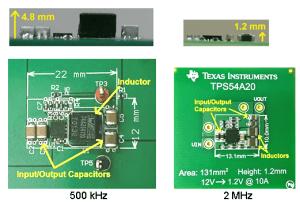 Größenvergleich eines 10-A-Schaltreglers mit 500kHz vs. 2MHz: Bild: TI