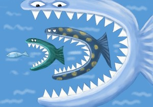 Großer Fisch frisst kleinen Fisch