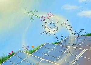 Neuer molekularer Farbstoff verbessert die Effizienz von Solarzellen. Bild: Izumi Mindy Takamiya / Universität Kyoto.