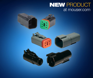 TE Connectivity's DEUTSCH DT family of connectors, now available from Mouser Electronics, consists of three series: the DT series, DTM series, and DTP series.