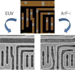 Samsungs EUV-Lithographie besser als traditionelle Argonfluorid (ArF)-Lithographie. Bild: Samsung.