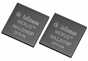 Audio-Verstärker-ICsMA12040P undMA12070P. Bild: Infineon.